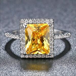 New 925 Sterling Silver Citrine Ring